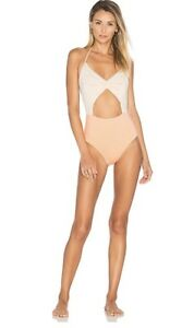 NEW-KORE-SWIM-Flora-One-Piece-Maillot-Swimsuit-Size-Medium-Coral-Nude