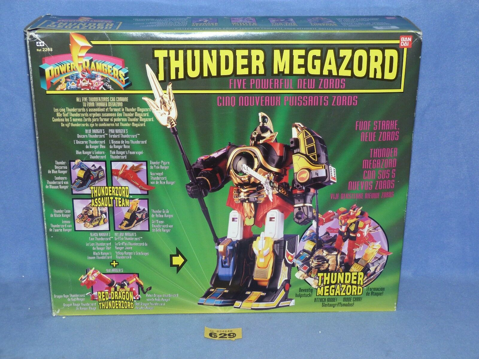 POWER RANGERS MIGHTY MORPHIN  MMPR THUNDER MEGAZORD BOXED 629 + CRYSTALS