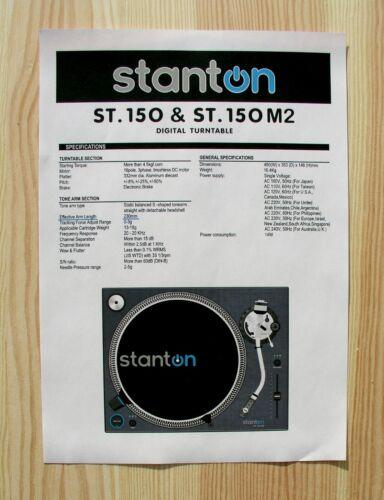 Stanton ST.150 /& ST.150M2 Custom Designed Tonearm Cartridge Alignment Protractor