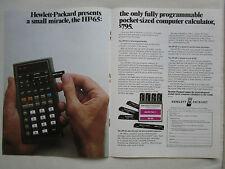 4/1974 PUB HP HEWLETT PACKARD HP-65 SCIENTIFIC CALCULATOR CALCULATRICE AD