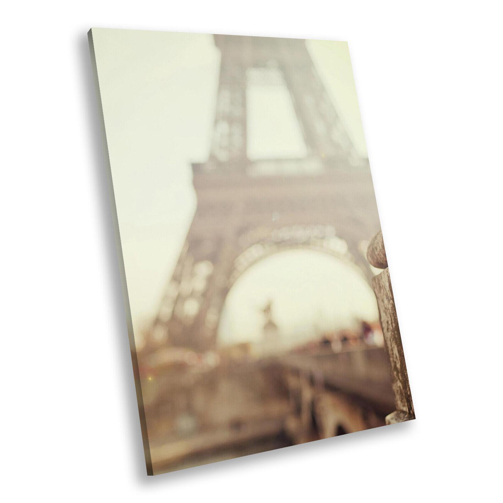 Eiffel Tower Paris Retro Portrait Scenic Canvas Framed Art Large Picture