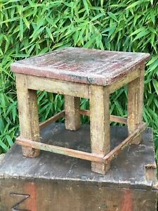 Vintage-Indian-Tropical-Hardwood-Stool-Distressed-Red-Paint-Great-for-Display