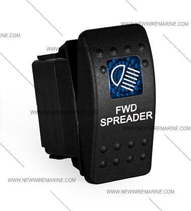 Labeled Marine Contura II Rocker Switch Carling Fwd Spreader-Blu lens lighted
