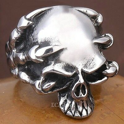 Men's Punk Biker Silver 316L Stainless Steel Skull Demon Skeleton Claw Ring