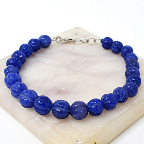 """Details about  /123.00 Cts Earth Mined 8/"""" Long Blue Sapphire Carved Beads Bracelet JK 27E232"""