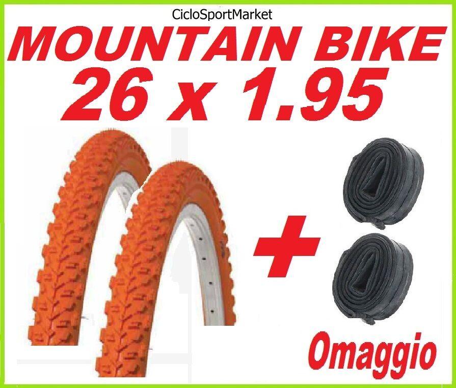 2 x Neumático 26 X 1.95 NARANJA bici MOUNTAIN BIKE + 2 x CÁMARA DE AIRE REGALO