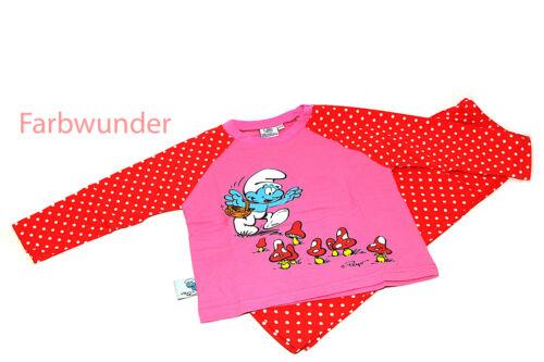 98//104 110//116 122//0128 Die Schlümpfe Schlafanzug Pyjama langarm  Gr