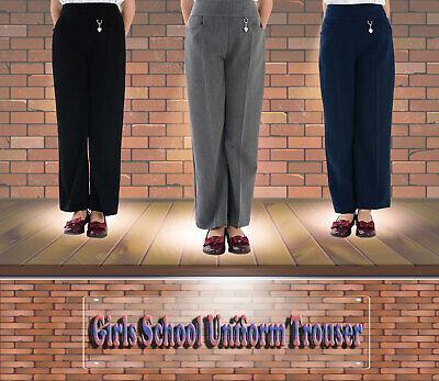 adam /& eesa Girls Plain School Uniform Trousers Elastic Back Heart Flower Front Button 2-14 Years