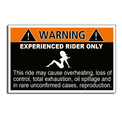 Experienced Rider Warning Sticker Bike Motorcycle Jet Ski Snowmobile Funny Decal