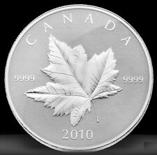 2010 Canada $5 Silver Piedfort Maple Leaf Coin 1oz .9999 fine silver proof