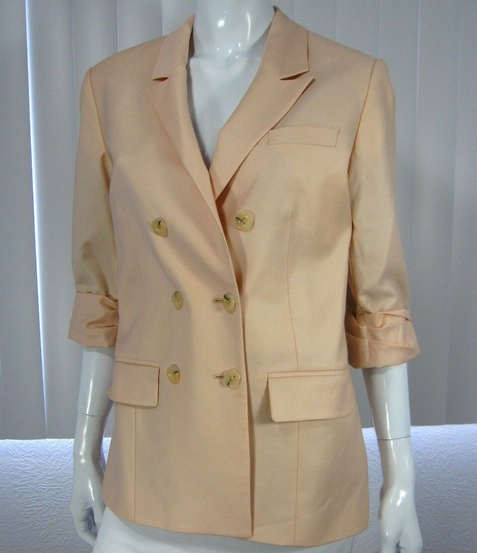 TOPSHOP DOUBLE BREAST 3 4 SLEEVE BLAZER SIZE 8 LIGHT SOLID SALMON