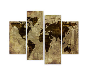 Image Is Loading LARGE CANVAS PRINTS RETRO BROWN WORLD ATLAS MAP