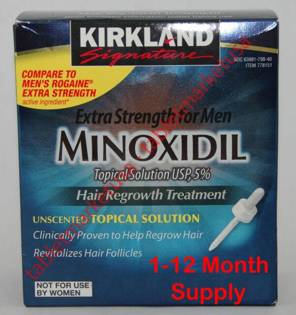 New Kirkland Minoxidil 5% Mens Hair Loss Regrowth 1 - 12 Months You Pick