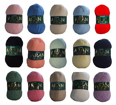 Woolcraft Aran Knitting Yarn 400g With Wool 850 Atlantic Blue