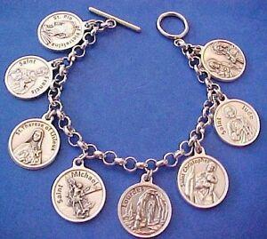 Custom ST BENEDICT Religious Saint Medal Charm Bracelet Stainless Steel Chain