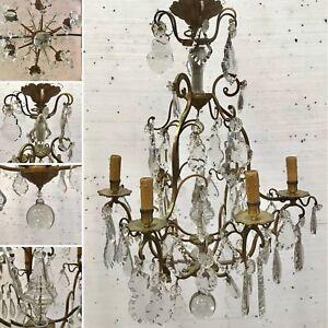 IndéPendant Lustre Louis Xv En Bronze à Six Lumière Décor De Pendeloques Taillé .xx Siècle. Approvisionnement Suffisant