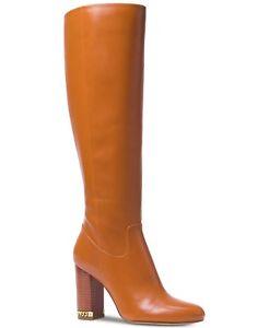 Michael-Kors-MK-Women-039-s-Knee-High-Tall-Leather-Walker-Boots-Shoes-Acorn