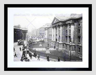 Vintage Architectural Cityscape Trinity College Dublin 12X16 Inch Framed Print