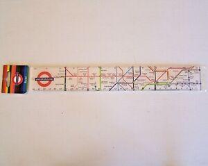 VINTAGE LONDON UNDERGROUND TRAIN MAP ENGLAND SOUVENIR PROMO 30cm PICTURE RULER