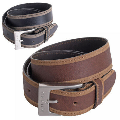 """Mens Gents Luxury Leather 30mm 1.25/"""" Stitched Trouser Jean Belt Black Brown"""