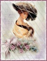 Vintage Image Shabby Victorian Lilac Roses Woman Labels Waterslide Decal Wom980