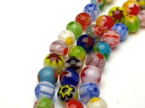 1 Strang 40 cm coloré MILLEFIORI Chevron Verre Perles environ Balle Lampwork 4 mm
