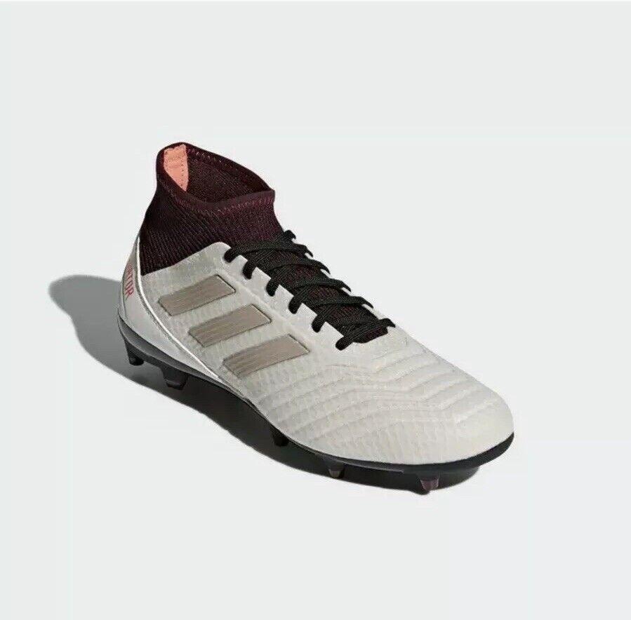 Adidas Originals Women's Size 10 Predator 18.3 FG W, Talc Vapour Grey Maroon