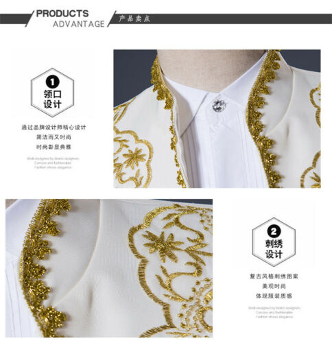 Medieval Prince Men/'s Suit Golden Embroidery Wedding Tuxedo Drama Show Costume