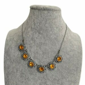 Vintage-1950s-Necklace-Silver-Tone-Amber-Coloured-Glass-Ornate-Pretty-Floral
