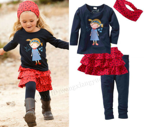 Lovely Kids Baby Girls Clothing Skirt Leggings Headband Outfit 0-5Y Top