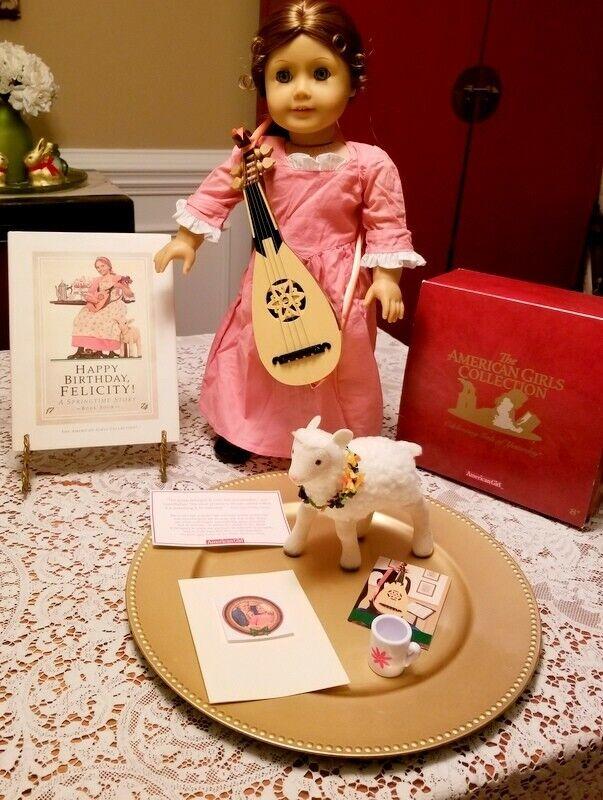 Feliz Cumpleaños Felicidad Lote American Girl Doll Cordero Guitarra Caja primera edición HC Libro
