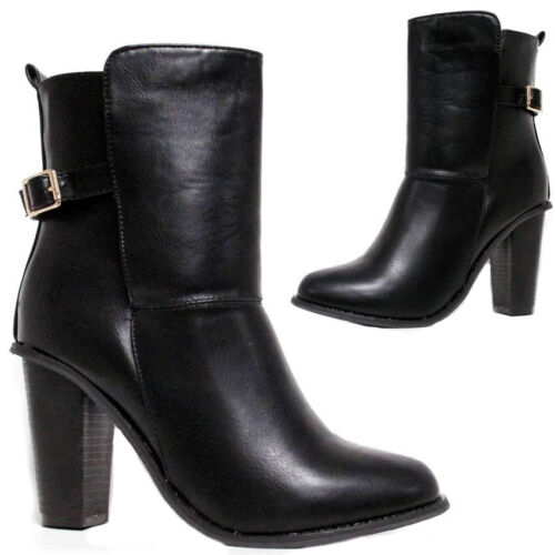 Femme fashion à enfiler en cuir synthétique boucle et talon bottes noir taille uk 3-8