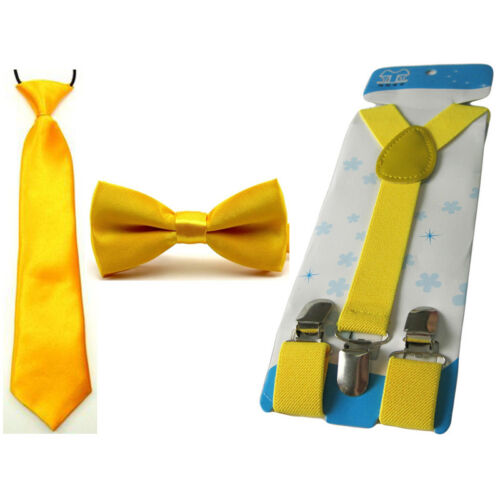 Boy Kids Satin Solid Bowtie Stretch Necktie Elastic Y-Back Braces Suspender Set
