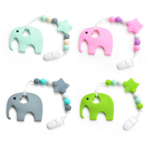 Silicone Elephant Pacifier BPA Free Baby Teether Hand made Funny Colorful Bead C