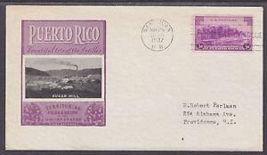 US-Planty-801-45b-FDC-1937-3c-Puerto-Rico-Ioor-Sugar-Mill-Cachet