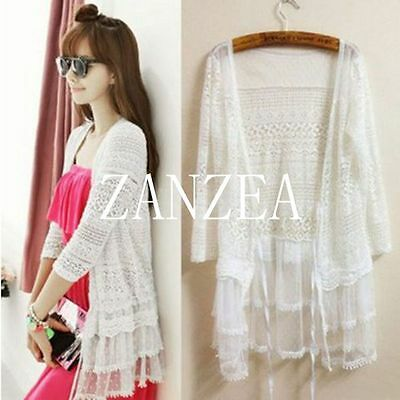 Zanzea Women Elegant Lace Floral Hollow 3/4 Sleeve Jacket Coat Cardigan Knitwear