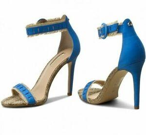 Dettagli su GUESS Originali Sandali Logo con Frange Bicolore Blu e Beige Tacco 10,5 cm 36