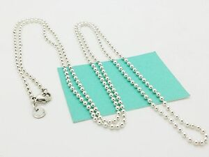 400ceae1c Tiffany & Co. Silver Bead Beaded Chain Necklace Dog Chain 34
