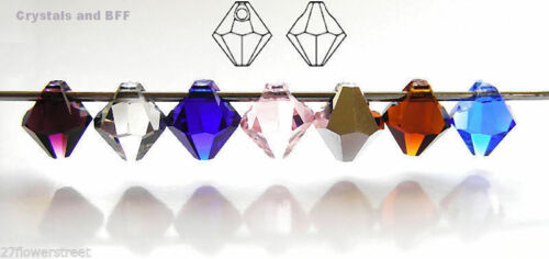 12 Czech Machine Cut Top-Drilled Bicone Pendant Crystals 6mm Jonquil color