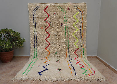 Moroccan Colorful Beni Ourain Berber Handmade Rug Organic Wool 100% Authentic