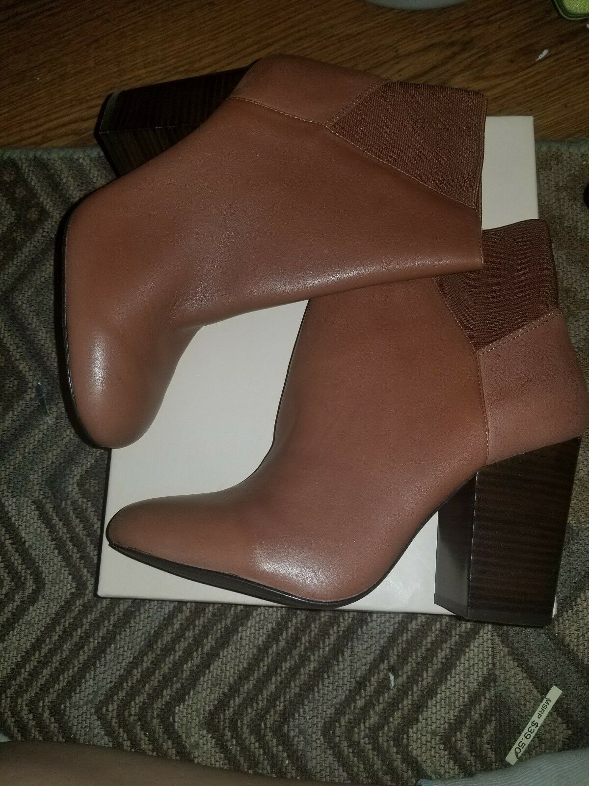 BCBGeneration Lillyan Ankle Boot Cognac Savage Elastic Leather NWT 10M