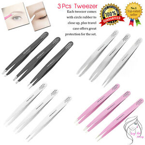 Tweezers Set 10-Piece Professional Stainless Steel Eyebrow Hair Pluckers Case