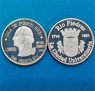60 Años RIO PIEDRAS unida SAN JUAN 1714 1951 PUERTO RICO T2 thin letters Peseta