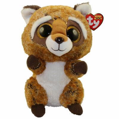 Medium Size - 9 inch Glitter Eyes TY Beanie Boos RUSTY the Raccoon - MWMTs