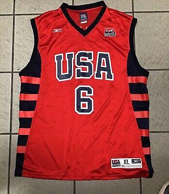 more photos 6a192 131a4 Reebok Dwyane Wade USA Jersey Red NBA Miami Heat #6 Olympics Mens Size-XL |  eBay