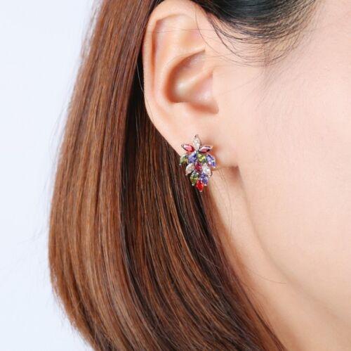 Special Natural Amethyst Peridot Morganite Garnet Gems Silver Stud Hook Earrings