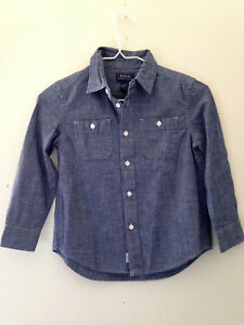 NWT-POLO-Ralph-Lauren-Boys-039-Long-Sleeve-Blue-Cotton-Button-Up-Dress-Shirt-5-45
