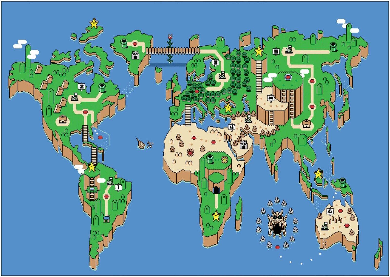 Super Mario World Retro Gaming Map Large CANVAS Art Print A0 A1 A2 A3 A4