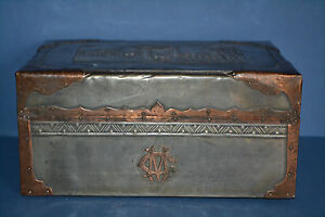 Woodenware Strict 19 Th Century Pewter/copper Colonial Box Oriental Decoration Initials Cm,c 1880 Delicious In Taste