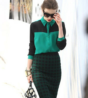 Korea Women Vintage Simply Stitching Long Sleeve Lapel Top Shirt Blouse T186#